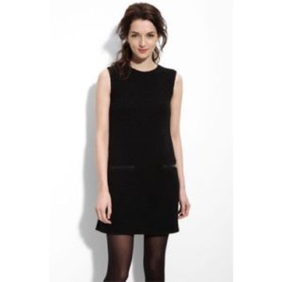 Theory Dresses & Skirts - Theory Black Boucle Sheath Dress (leather detail)